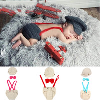 Boy Summer knit hat&overalls set 1 Set Newborn Infant Baby Boys Girls Knit Crochet Photography Photo Props Hat Overalls Diaper Costume Outfit Size Fit 0-24 Months