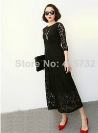 Customized 2015 New Plus Size Long Design Black And White Sexy Lace Cotton Three Quarter Sleeve One-piece High Quality long mid-calf Dresses
