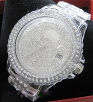 Modern acrylic company - toy watches female table super luxury diamond watches Millet full drill all over the sky star watch company transparent white