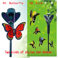 solar butterfly - 2014 New Solar hummingbirds butterflies garden toys educational toys solar Energy and battery combo can choose style Christmas GIFT