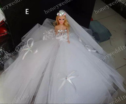 Wholesale Sparkle Wedding Decorations Barbie Dolls White And Pink Bride Dress Up Doll Bling Ball Gown Bridal Barbies PartyToys Real Image