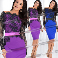 Wholesale Lace Long Sleeve Slash Neck Celebrity Elegant Party Dresses New Women Autumn Casual Dress OL Career Wear