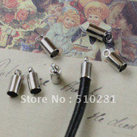 Cheap Promotion Price!!! Rhodium Plated For 3mm round leather cord end cap bead