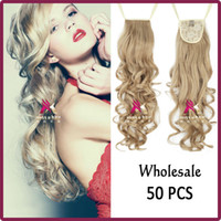 Wholesale quot g Women Clip In Hair Extensions Long Curly Ribbon Drawstring Ponytail Pony Tail