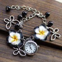 Wholesale New Lady Jewelry Beads Watch Flower Retro Bracelet Cuff Wrist Gift Watch