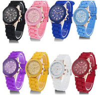 Wholesale Colorful Shadow Rose Gold Colored Style Geneva Watch Rubber Silicon Candy Jelly Fashion Men Wamen Silicone Quartz Watches