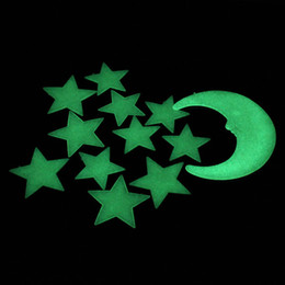Moodeosa New Arrival Moon Stars Color Glow In The Dark Luminous Fluorescent Wall Stickers Decal Free Shipping&Wholesales