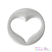 """Cheap Floating Charms Dish Plate For Glass Locket Pendants Heart Hollow Silver Tone 22mm( 7 8"""") Dia,30PCs (B36448)"""