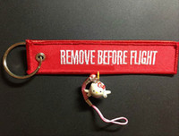zipper pull - Remove Before Flight Key Chain Luggage Tag Zipper Pull Woven Embroidery Keychain