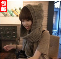 Wholesale free shinppingPurchasing new winter Korean Women Long Hooded knit scarf fashion thick warm scarf Korean tide