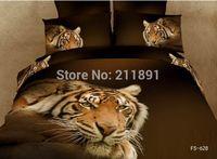 Cheap 2014 New 3d Tiger comforter bedding sets queen size 4pcs Tiger duvet quilt cover bed sheet linen bedclothes cotton home textile