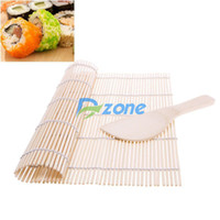 Wholesale DIY Maker Japanese Sushi Tool Rolling Roller Bamboo Material Mat Rice Paddle Set Hot