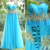 Wholesale 2015 Real Image Prom Dresses Sky Blue Tulle Beaded Crystal Sweetheart Lace Up Back Empire A Line Long Formal Evening Gowns SU12