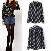 Cheap 2014 Casual Women Bottom Black Dot Oversized Long Sleeve Chiffon Top Blouse Blusas Femininas #64842