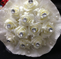 Wholesale 2014 Cheap Rose Popular Bridal Bouquet Wedding Accessories Artificial Petals In Stock Bridal Favors Fast Delivery Beach Wedding Flowers WW