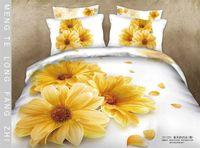 Cheap Yellow Daisy 3D bedding sets queen size 4pcs Flowers comforter quilt duvet cover bed linen bedclothes cotton home textile