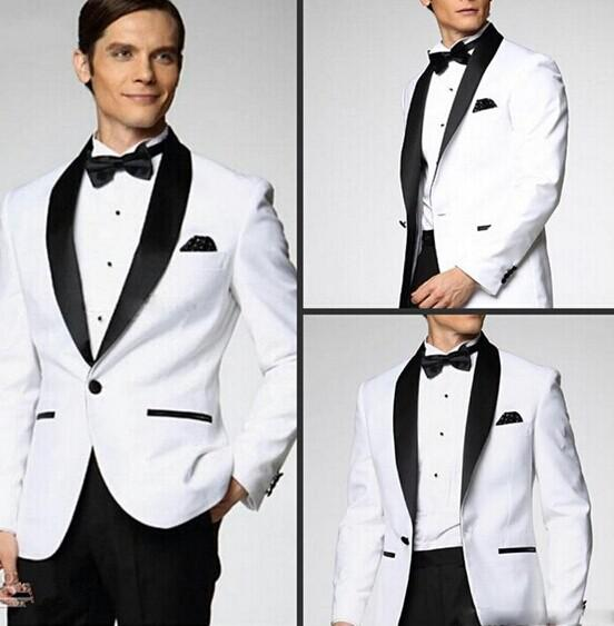 Op Selling New White Jacket With Black Satin Lapel Groom Tuxedos