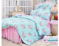 Cheap Pastoral Lace bedspread princess bedding sets queen size 4pcs pink bow comforter duvet cover bed skirt bedclothes cotton