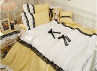 Cheap Romantic Black Lace bedspread princess bedding set queen size 4pcs wedding quilt duvet cover bed skirts set bedclothes cotton