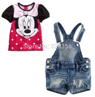 Wholesale Retail baby girls Minnie Mouse summer clothing sets Children suits kids short sleeve cartoon tee shirts denim shorts overalls