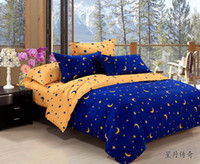 aa comforters - AA Home textiles Blue yellow star moon bedding sets include comforter cover bed sheet pillowcase linen bedclothes