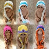 Cheap FROZEN ELSA ANNA Crochet hats Newborn Photography Props Costume high quality Children Caps 100% Cotton Comfortable Soft Baby hat Handmade
