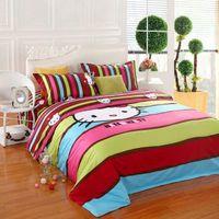 Cheap Brand Stripe Hello Kitty bedding set home textile 4pc queen king size duvet comforter cover bed sheet bedlinen bedclothes cotton