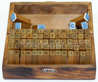 Wholesale pc Set of Alphabet Rubber Stamps Wooden Box Vintage Style Wood Letters Number Craft Decorative DIY Funny Work