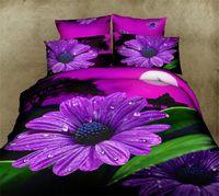 Cheap 3D Purole Daisy bedding sets home textile 4pcs Floral Print queen size comforter duvet quilt cover bed linen bedclothes cotton