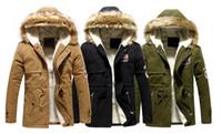 men fur coat - Winter Casual Canada Mens fur collar coat army green outwear coats military man jacket ropa hombre winter jacket men Parka Coats
