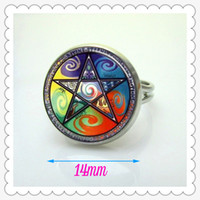 air earth - R SPA I33 Wiccan Astrology Fire Air Earth Water Glass Tile ring
