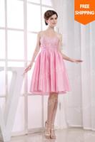 Wholesale Wardrobe5 SWEETHEART Taffeta Short Strapless Beadings Homecoming Prom Dress Vestido de festa Shining