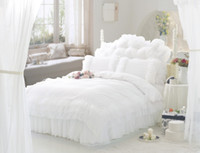 Wholesale Luxury Snow White lace bedspread princess bedding sets queen king size comforter duvet cover bed skirt bedclothes cotton