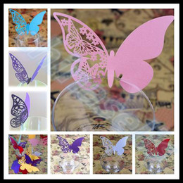 Wholesale hot wedding party decorations wine glass markers bar wine glass cards wedding cake toppers name card butterfly laser cut card escort card