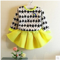 Wholesale 2014 Fashion Kids Sets Autumn Girls Two piece Sets Houndstooth Sets Children New Arrival Skirt Dresses Sets