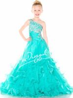 little girl dresses - 2015 Custom One shoulder Sequins beaded layered Pleated Ruffles Chiffon ruffles Ssh ball gowns Little girl dress Girl s Pageant Dresses