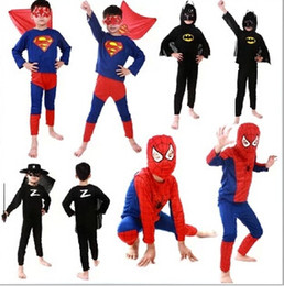 Wholesale Boys Spiderman Batman Superman Zorro Costume tights Kids Halloween and Christmas costumes kids performance clothing Fedex
