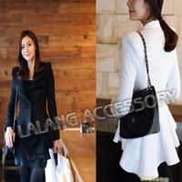 Cheap Top Quality 1PC Women Casual Suit One Button Blazer Jacket Swallowtail style Suit OL Business Outwear Coat Black white cx6528852014 Autumn