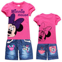 Cheap Wholesale-2014 Cute High Quality children Minnie mickey Mouse suit Boys girls T shirt +jeans Baby summer clothes sets wholesale