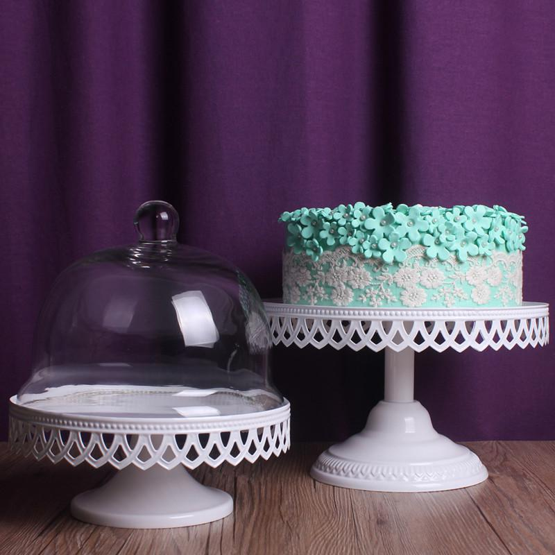 6 Inch 8inch Wedding Cake Stand Fashion Belt Of With Glass Dome Cake Pan Iron Cup Cake Pallet