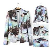 Wholesale Casual Cotton Blazer Womens - 2015 New Fashion Womens Europe Vintage Landscape Print Jacket Blazer Suits Ladies Casual One Button Office Suits Coat S M L XL 2015 Autumn