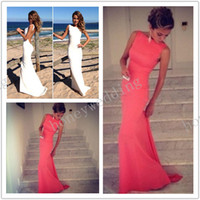 china drop shipping - Sexy Coral Backless Evening Dresses Jewel Bodice Floor Length Party Gowns Sheath Prom Dress China factory custom formal Drop Shipping