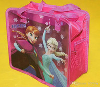 Wholesale Frozen bags girls elsa anna children cartoon bags cube Lunch box bag light convenient hand bags Freel shipping CM FZ02
