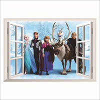 "PVC Frozen cartoon  Removable Wall Decor 24""x18"" PRINCESS Elsa Anna 3D Window View Cartoon Home Decor Wall Stickers For Kids Rooms 45X60cm FZ03"