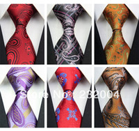 Wholesale New Men s Fashion Brand Floral Pattern Jacquard Woven Business Silk Tie Necktie for Men Black Red Purple Yellow Blue