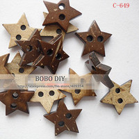 Cheap Min.order is $15 (mix order),15mm, star shape coconut shell buttons ,BOBO DIY , 100pcs lot,free shipping,C20130814