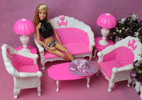 Wholesale discount girl birthday gift plastic sofa couch desk lamp items set accessories for barbie doll