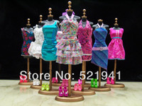 Wholesale items Clothes Shoes Hangers Mix Style Mix Color clothes evening dress For Barbie Doll