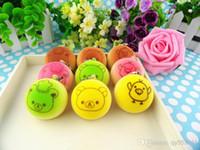 Wholesale Christmas Gift New cm Kawaii Squishies Bun Bag Charm Color Rilakkuma Bean Rare Squishy Bread Mobile Phone Straps