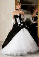 Wholesale New Strapless Applique Lace up Organza Backless Black and White Floor length Wedding Dresses Bridal Gowns